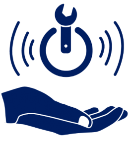 Symbol of a hand holding a hovering wrench in a circle with sound waves express on the left and right